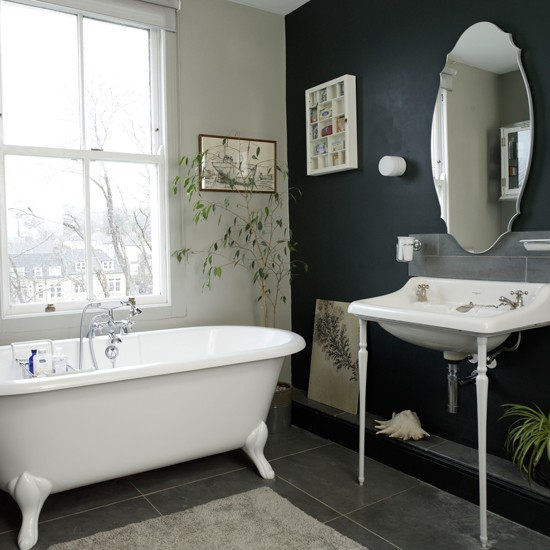Black and white traditional bathroom traditional for Ideal home bathroom ideas