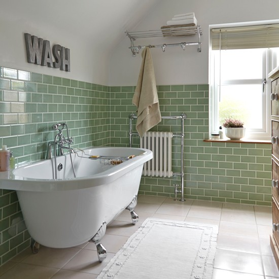 Green tile bathroom