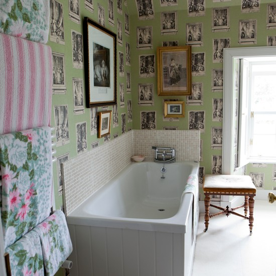 Bathroom with quirky wallpaper traditional bathroom for Quirky bathroom designs