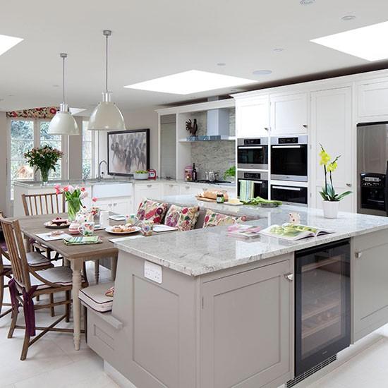 Grey Kitchen White Island Decorating Ideas Beautiful