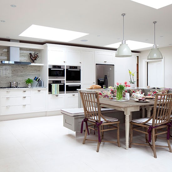 Large Open-plan White Kitchen Diner
