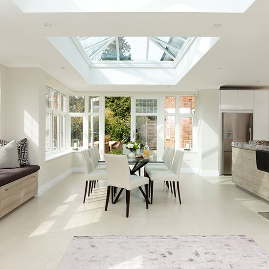 white dining room with skylight kitchen decorating