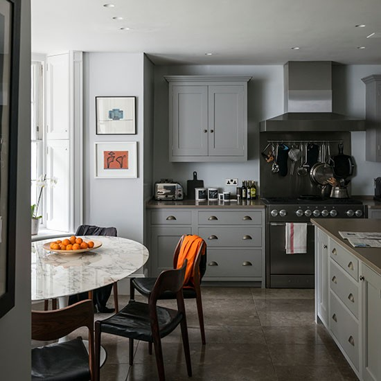 Grey Kitchen Marble: Grey Kitchen With Stone Flooring