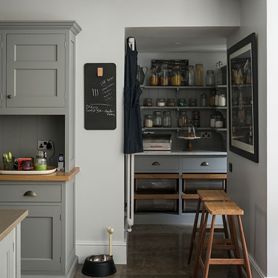 Grey Kitchen With Walk in Larder Decorating