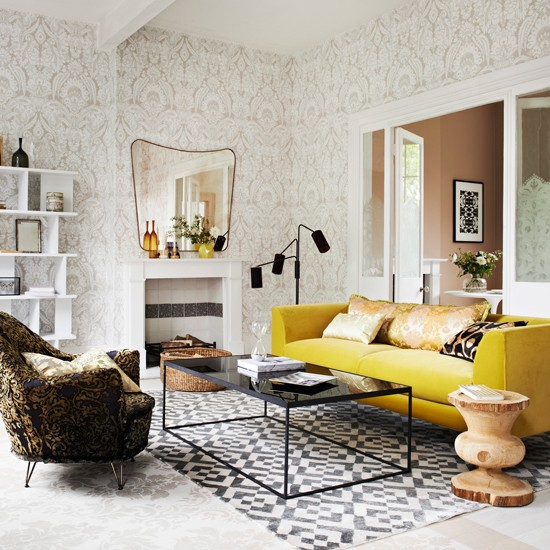 Yellow and grey living room for Yellow brown living room ideas