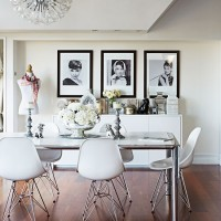 White dining room with designer chairs