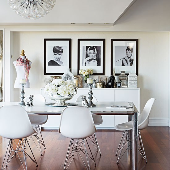 White dining room with designer chairs decorating ideas for White dining room decor