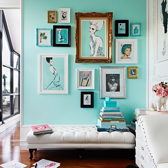 Turquoise home office with leather ottoman Home office