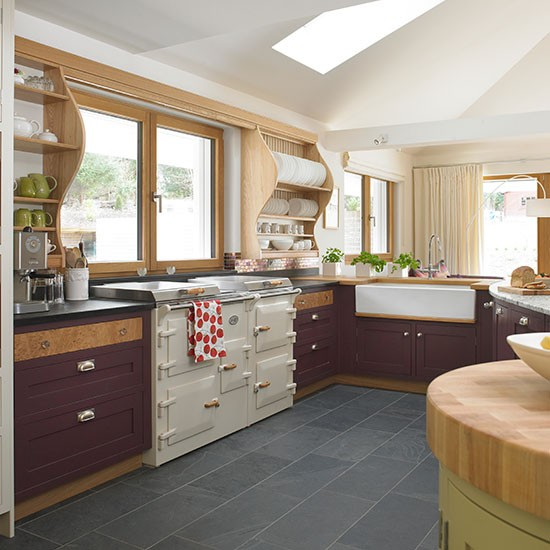 Plum Kitchen Paint: Traditional Kitchen With Plum Painted Cabinetry