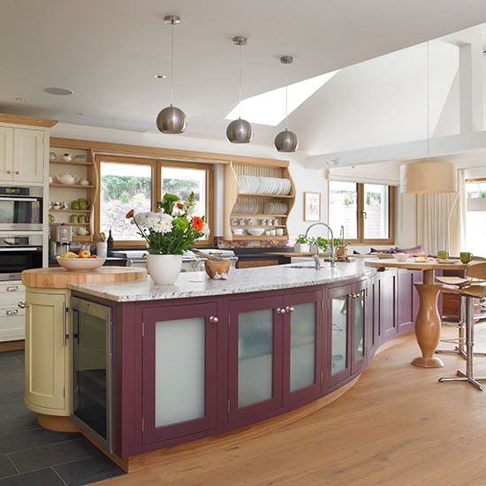 Plum Kitchen Paint: Kitchen With Plum Painted Island Unit