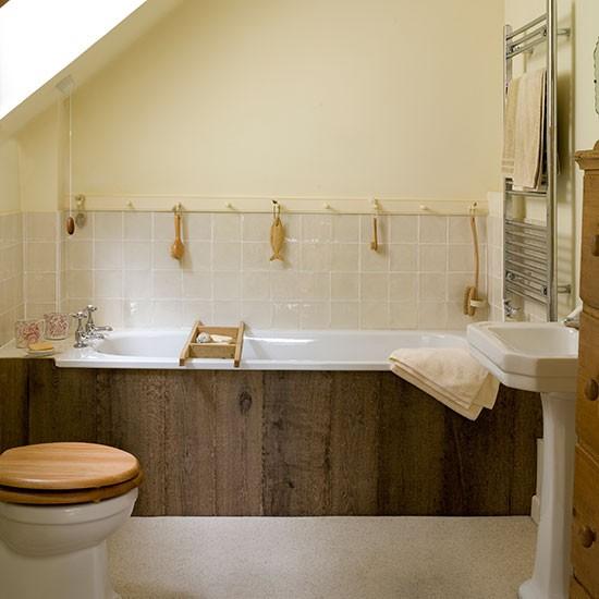 Neutral bathroom with wood panelled bath decorating for Wood panelled bathroom ideas