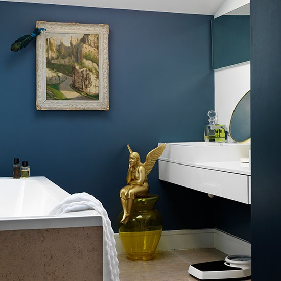 Blue bathroom with classic white fittings 10 glitzy and for Living etc bathroom ideas
