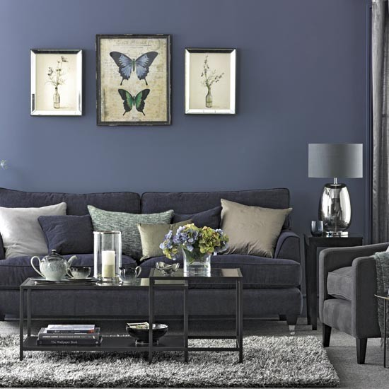 Living room in shades of navy and grey traditional living room