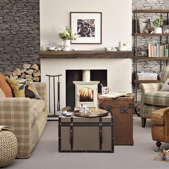 Country casual living room traditional living room ideas for Next living room wallpaper