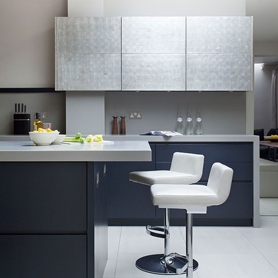 Black and silver modern kitchens for Black and silver cabinet