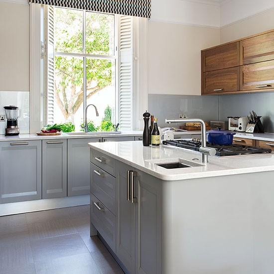 Pale Grey Kitchen With Walnut Units Decorating