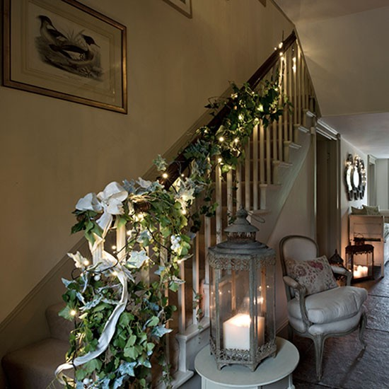 Christmas hallway with ivy garland decorating for Christmas home decorations uk