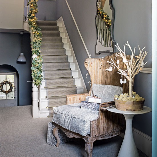 Classic Grey Christmas Hallway Decorating Homes amp Gardens