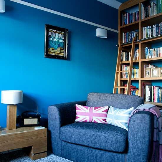 Bold blue family living room family living room design for Bold living room ideas