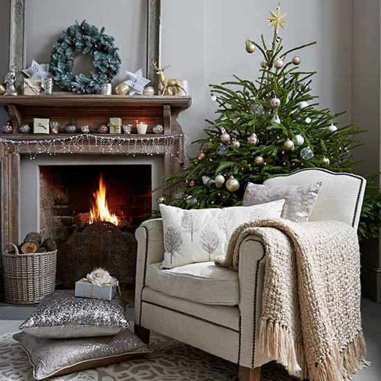 Neutral Christmas Living Room With Decorations