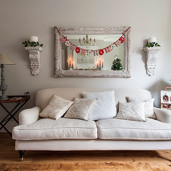 Neutral Open Plan Christmas Living Room Decorating