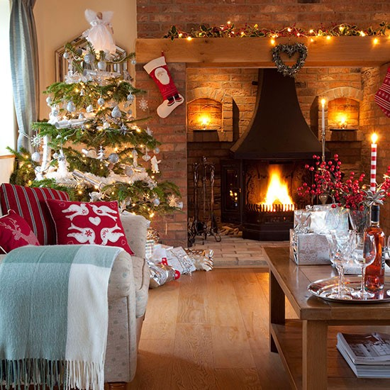 Christmas living room with natural brick fireplace | decorating | 25 Beautiful Homes | Housetohome.co.uk