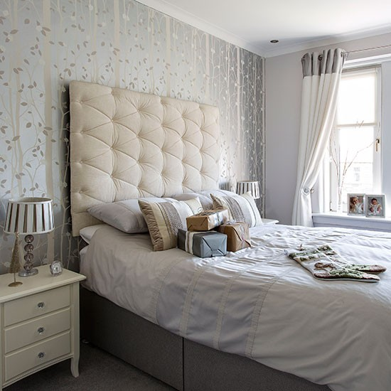 romantic soft grey and white bedroom decorating