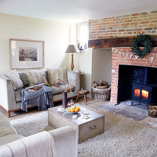 Country Living Room With Inglenook Fireplace Decorating
