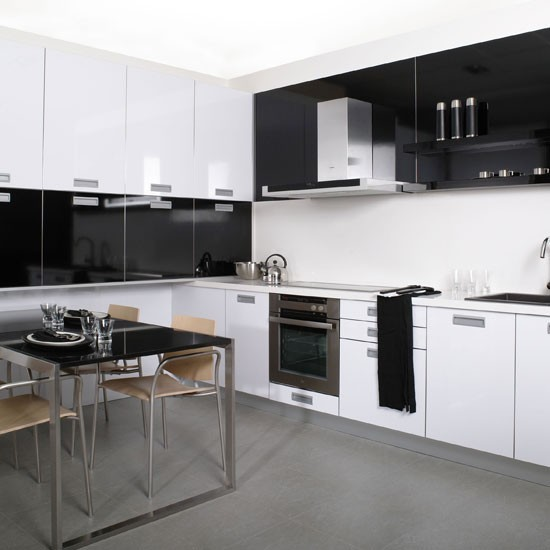 Monochrome L shaped Kitchen Design Ideas