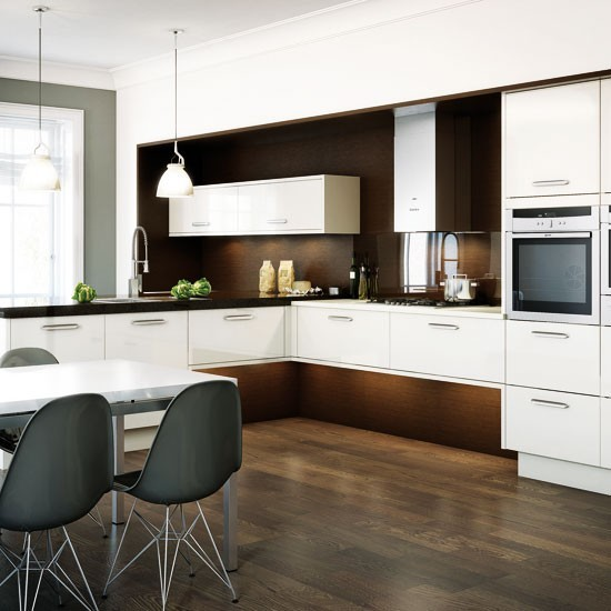 Dark Wood And White L-shaped Kitchen