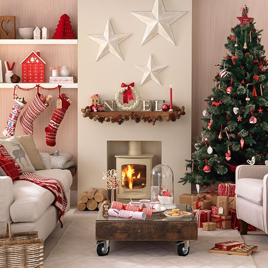 Scandi christmas living room decorating for Home christmas decorations uk