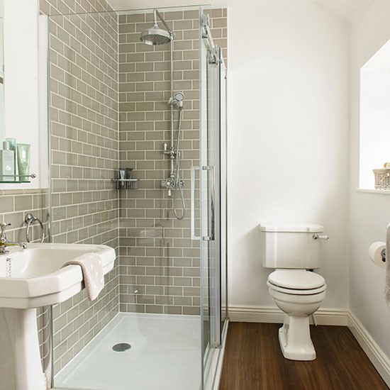Grey and white tiled bathroom decorating for Small bathroom ideas uk