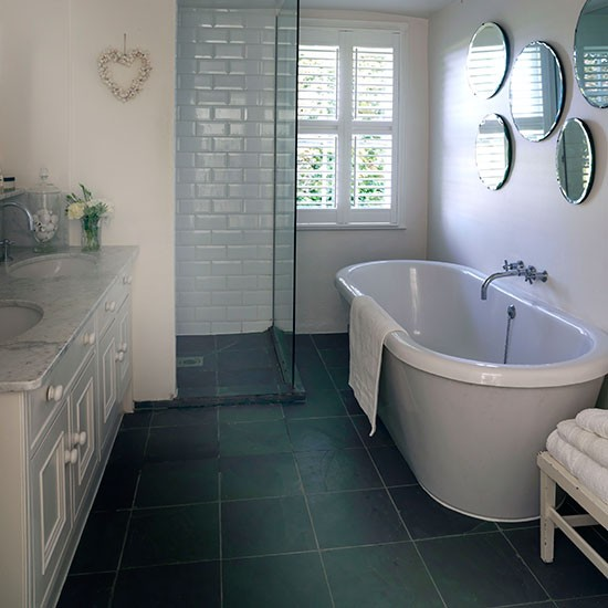 white bathroom with grey slate floor bathroom decorating ideal