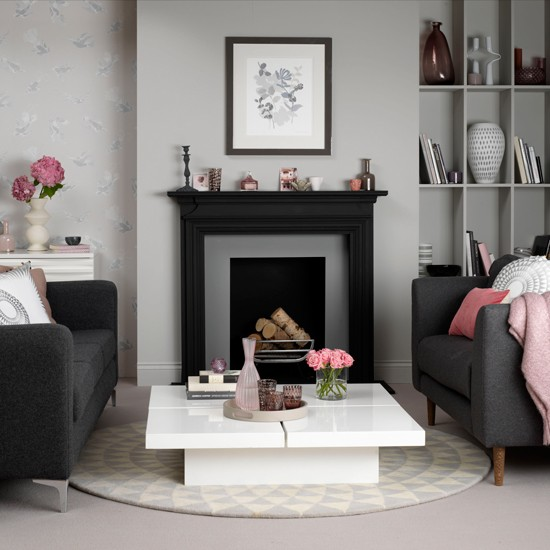Grey and pink living room how to decorate with grey for Living room ideas pink and grey