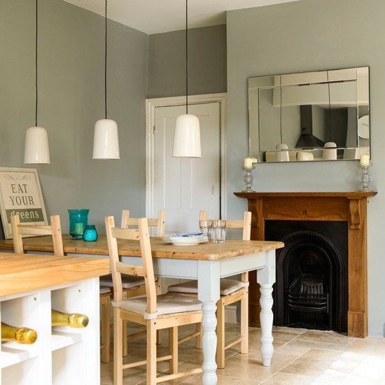 Grey painted dining room how to decorate with grey for Terraced house dining room ideas