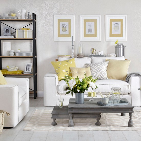 Grey living room with pale gold and yellow how to for Living room yellow and gray