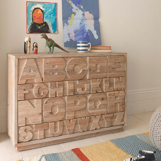 Alphabet chest of drawers children 39 s room storage ideas - Decorating a chest of drawers ...