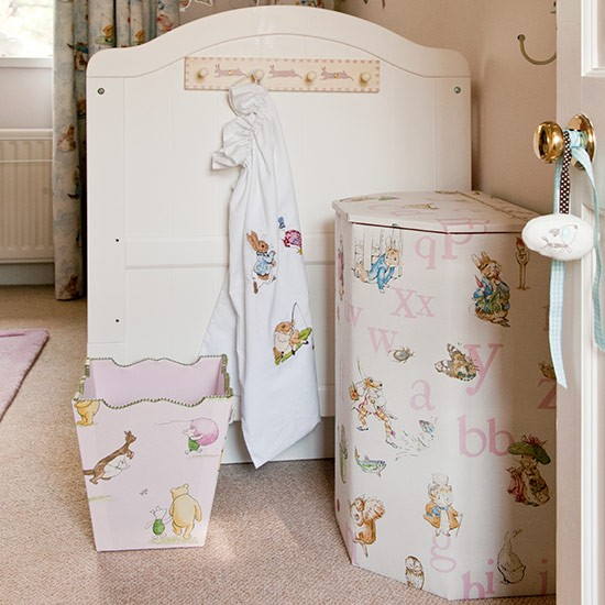 Fabric covered nursery storage children 39 s room storage for Nursery fabric uk