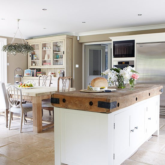 Open plan kitchen diner with butcher 39 s block unit open for Open plan kitchen ideas