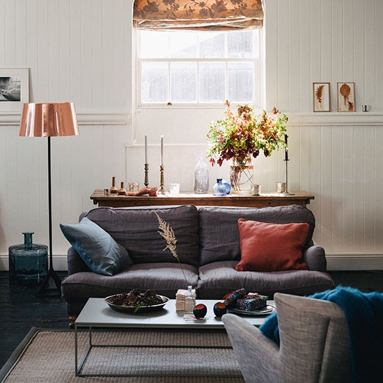 Cream Living Room With Grey And Copper Decorating