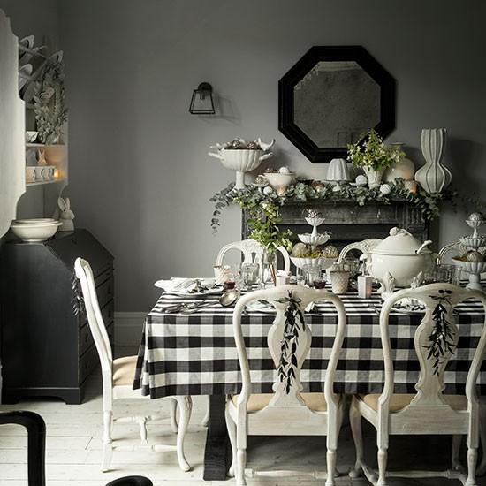 Black White Dining Room: Black And White Christmas Dining Room