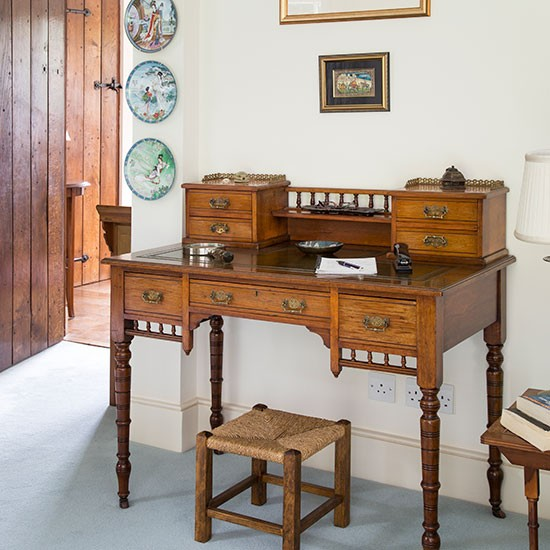 Traditional Office With Antique Bureau Decorating