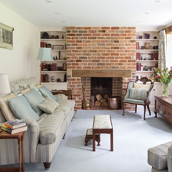 traditional living room with brick chimney living room decorating