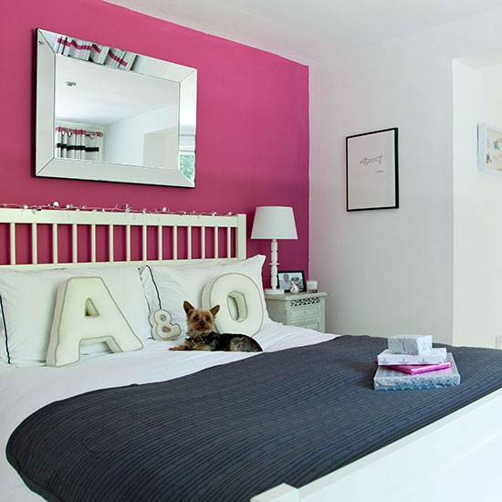 White Bedroom With Pink Feature Wall