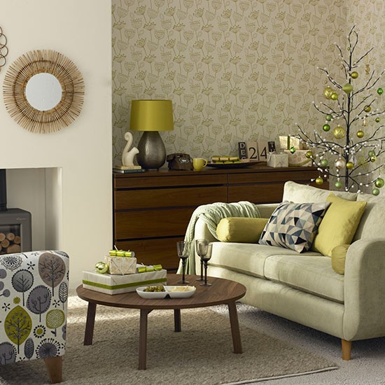 Olive green christmas living room decorating for Olive green living room ideas