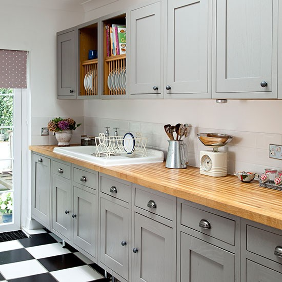 Grey shaker style kitchen with wooden worktop decorating for Country style kitchen handles