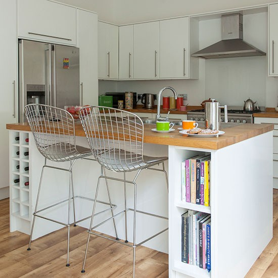 White kitchen with breakfast bar  Decorating ...