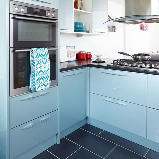 Double L Shaped Kitchen Layout: L-shaped Kitchen With Blue Cabinetry