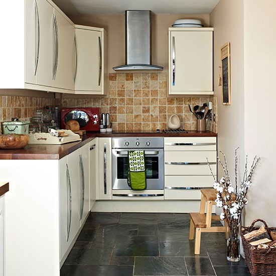 Traditional kitchen with slate tiled floor  Kitchen decorating