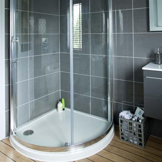 Quadrant shower modern grey bathroom makeover for Ideal home bathroom ideas